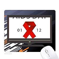 赤いリボンの世界エイズの日を止めてhiv認識 ノンスリップラバーマウスパッドはコンピュータゲームのオフィス