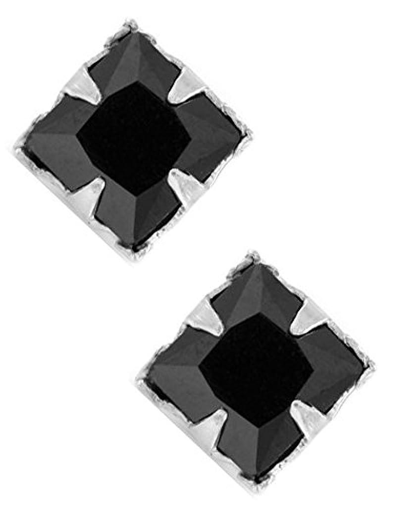 感情着服外交プリンセスカットブラックCZスターリングシルバー正方形磁気メンズ4 mmスタッドイヤリング
