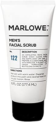MARLOWE. No. 122 Men's Facial Scrub 6 oz | Light Daily Exfoliating Face Cleanser | Fresh Sandalwood Scent | Made with Natura