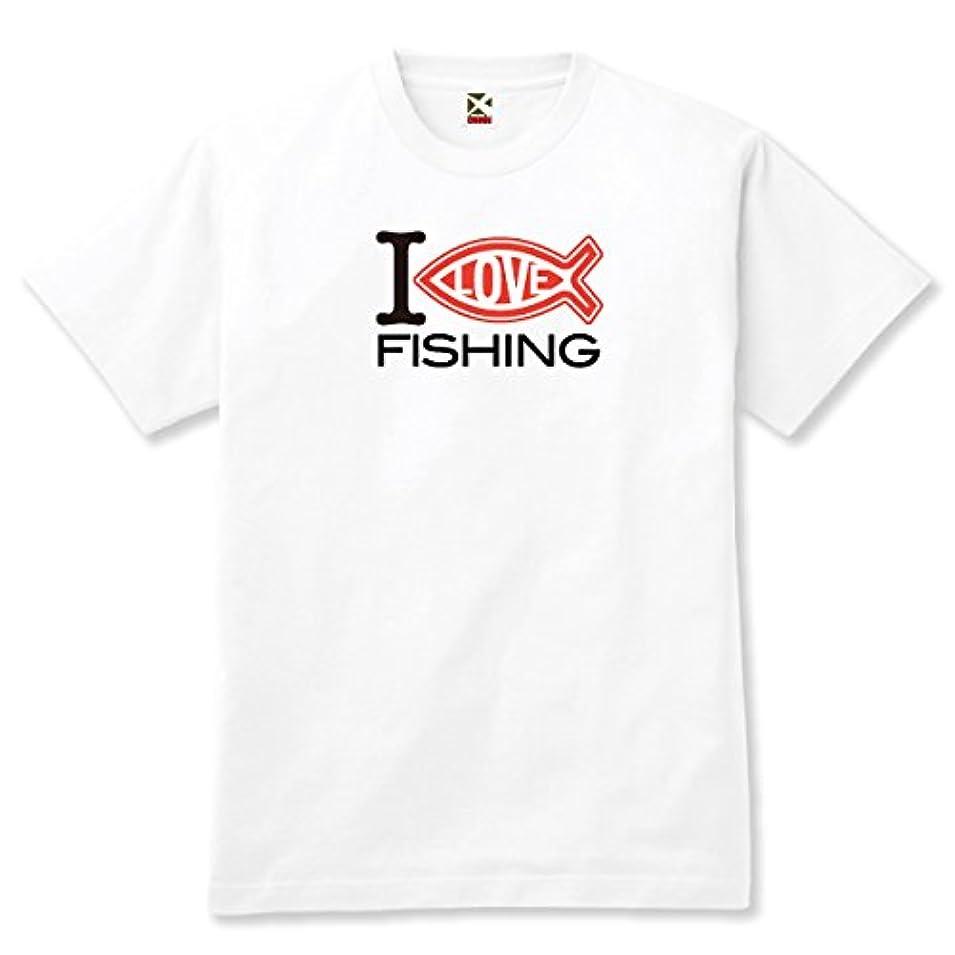 代数的謙虚噴水フィッシングウェア釣りバカTシャツ「I LOVE FISHING」WHT
