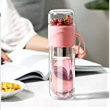 Double Wall Glass Tea Bottle Cups with Infuser Portable Tea Infuser Glass Tea Strainer Leak-Proof Glass Tea Tumbler Water Sep