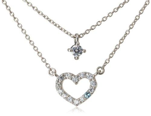 【WEB限定】 ダイヤモンド・ブルートパーズ・キュービック・ハート2本セットネックレス GS6N010340BT ヴァンドーム青山