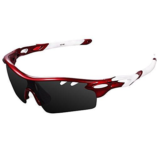 Ewin スポーツサングラス 偏光レンズ UV400カット 交換レンズ3枚 軽量 ユニセックス 紫外線防止 登山 ゴルフ 釣り 野球 ランニング レンズ交換可能 偏光サングラスセット (レッド&ホワイト)