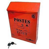 All ure ポスト 壁掛け 鍵付き 郵便受け アンティーク アメリカン ビンテージ レトロ 郵便 投書箱 多用途 メールボックス (レッド)