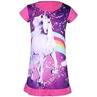 FEESHOW Girls Unicorn Star Rainbow Print Princess Dress Nightgown Kids Night Gown Nightie Pajamas