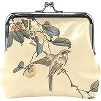 がま口 財布 口金 小銭入れ ポーチ 水墨 絵 鳥 Jiemeil バッグ かわいい 高級レザー レディース プレゼント ほど良いサイズ