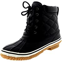 Polar Women Thermal Winter Waterproof Quilted Mid Calf Hiking Boots - Black Leather - US9/EU40 - YC0465