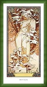 ポスター アルフォンス ミュシャ 四季 -冬- 1900年 額装品 ウッドベーシックフレーム(グリーン)