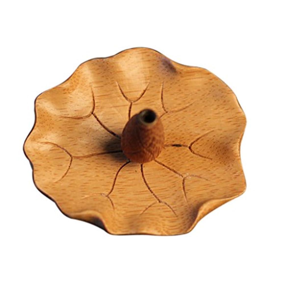 マイク観光すり減る蓮花形 香皿 竹製 お香立て スティック用 1穴 バーナー ホルダー