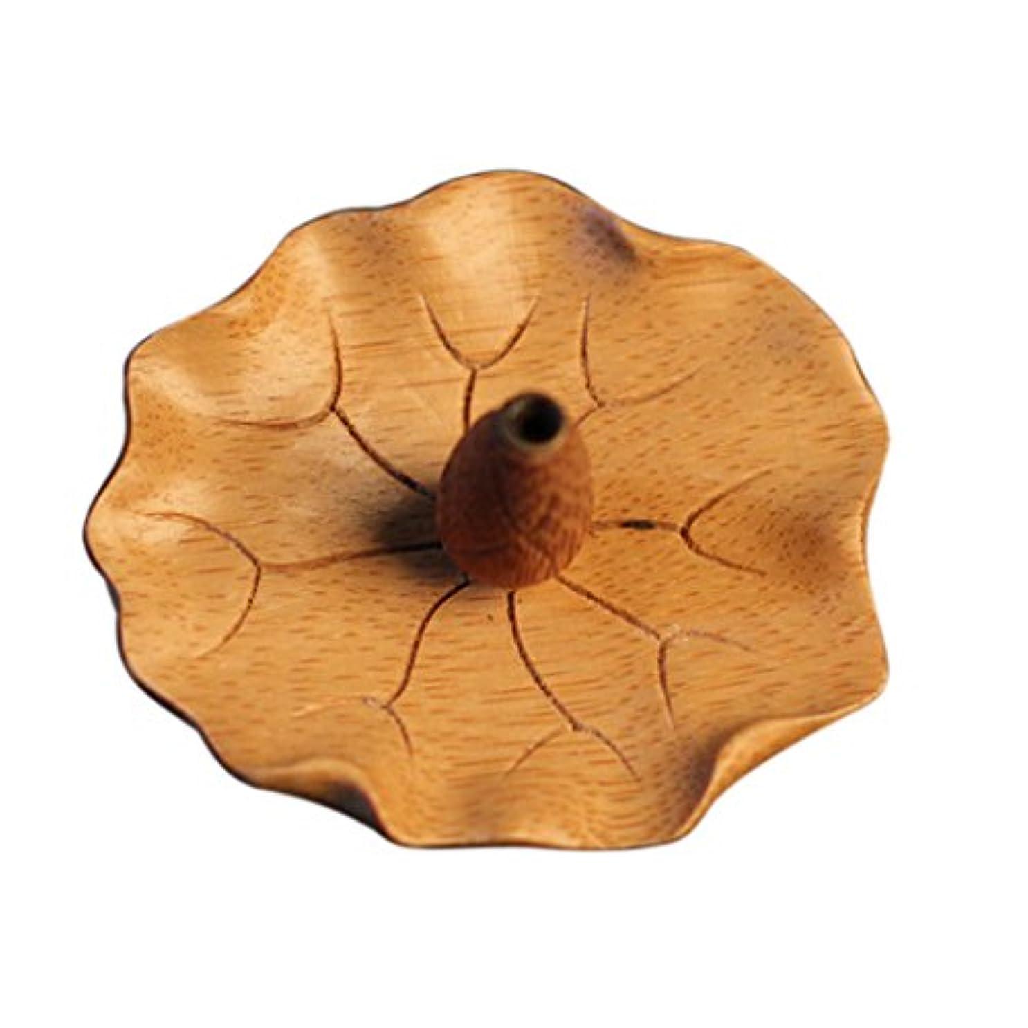 円形液体適応するFityle 蓮花形 香皿 竹製 お香立て スティック用 1穴 バーナー ホルダー