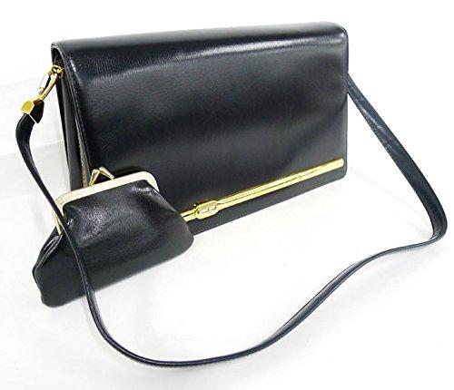 Christian Dior クリスチャン・ディオール ショルダーバッグ ブラック レザー がま口財布付き 【中古】