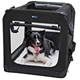 """Veehoo Folding Soft Dog Crate, 3-Door Pet Kennel for Crate-Training Dogs, 5 x Heavy-Weight Mesh Screen, 600D Cationic Oxford Fabric, Indoor & Outdoor Use, 36"""", Black"""