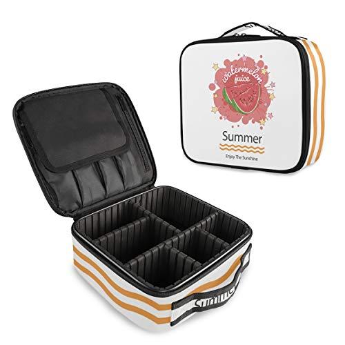 (VAWA) メイクボックス 大容量 プロ用 かわいい スイカ柄 英字柄 化粧箱 機能的 コスメ収納 ブラシバッグ 調整可能 旅行出張用