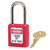 Government Safety Lockout Padlock, Zenex, 1 1/2 inch, Red, 1 Key by Master Lock