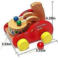 ウォーカーおもちゃWooden Pull Alongおもちゃreative Educational Toy Bearを再生ドラムfor Toddlers Kids