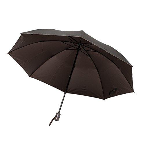 <紳士用 晴雨兼用折傘> 58cm 2段折 紫外線99%カット カラーコート 黒