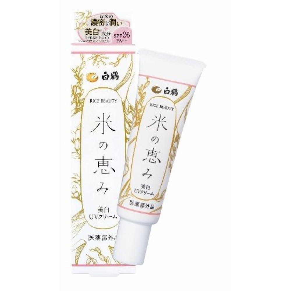 靴下住居規則性白鶴 ライスビューティー 米の恵み 美白UVクリーム 30g SPF26/PA++ (日焼け止め/医薬部外品)