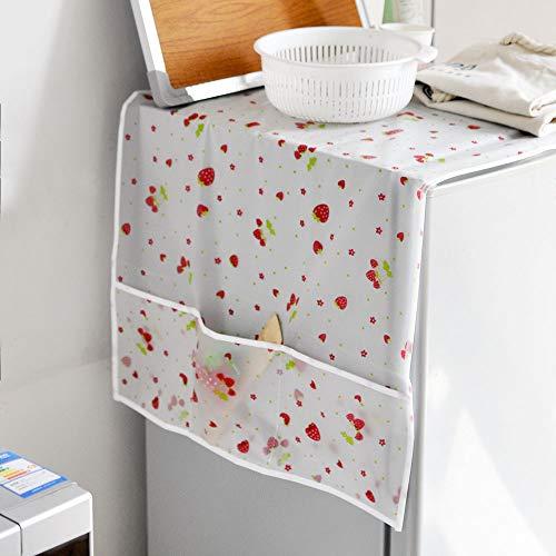 冷蔵庫カバー 冷蔵庫ダストカバー 洗濯機カバー ホコリ防止カバー 小物の入れる収納袋付き 防塵 防水 ほこり防止 イチゴ