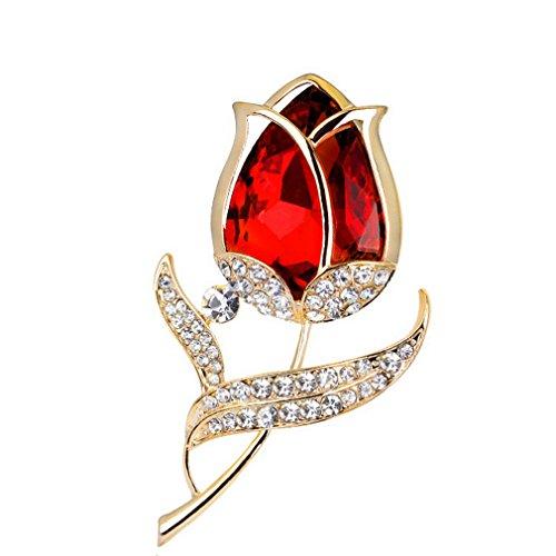[해외]YAZILIND 섬세한 붉은 지르코니아 꽃 상감 라인 스톤 브로치 그랬 여성 걸스 액세서리/YAZILIND delicate red zirconia flower inlaid rhinestone brooch corsage women girls accessories
