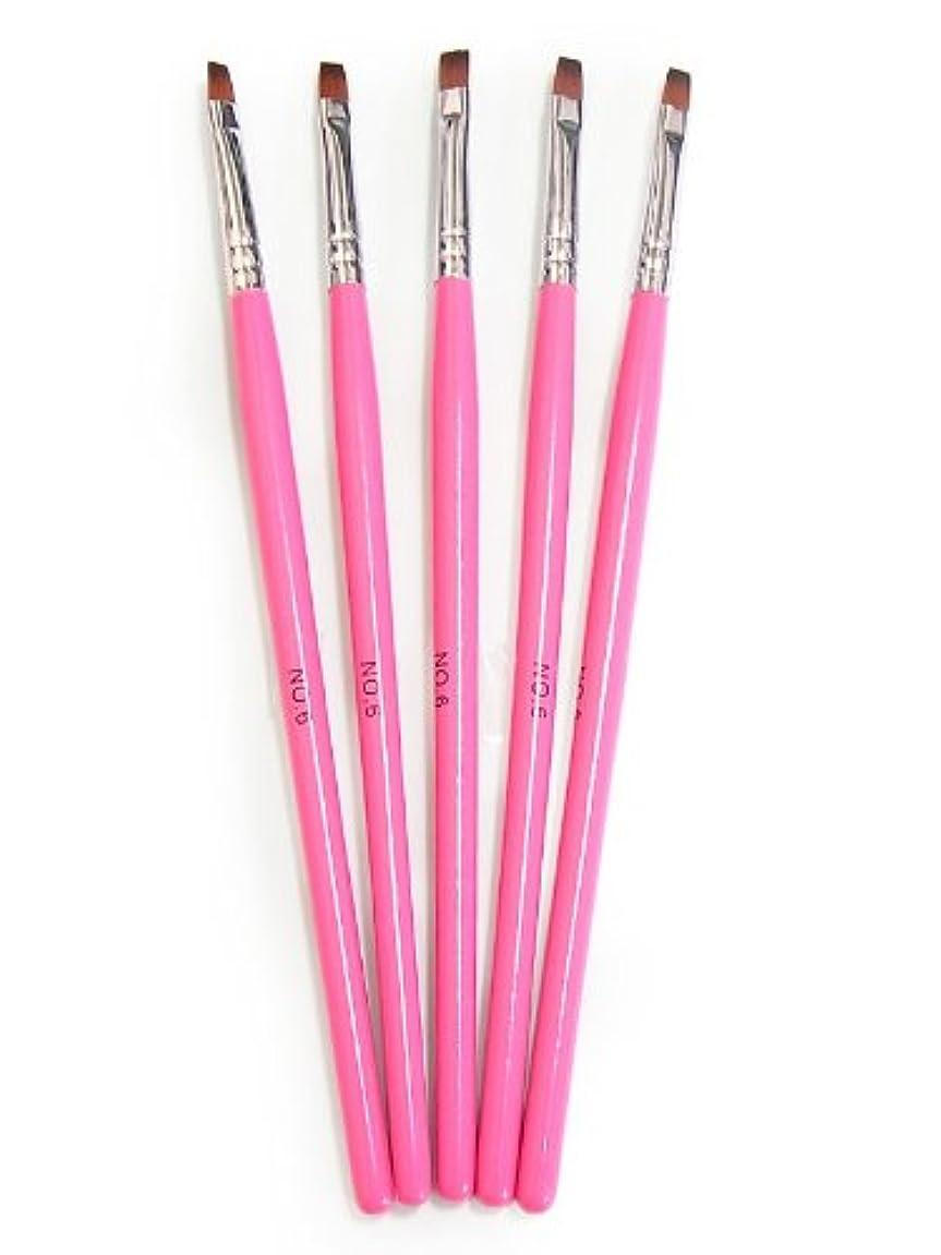 カナダ降伏公平なジェルネイル用ブラシ 筆 No.6【5本セット】ピンクカラー