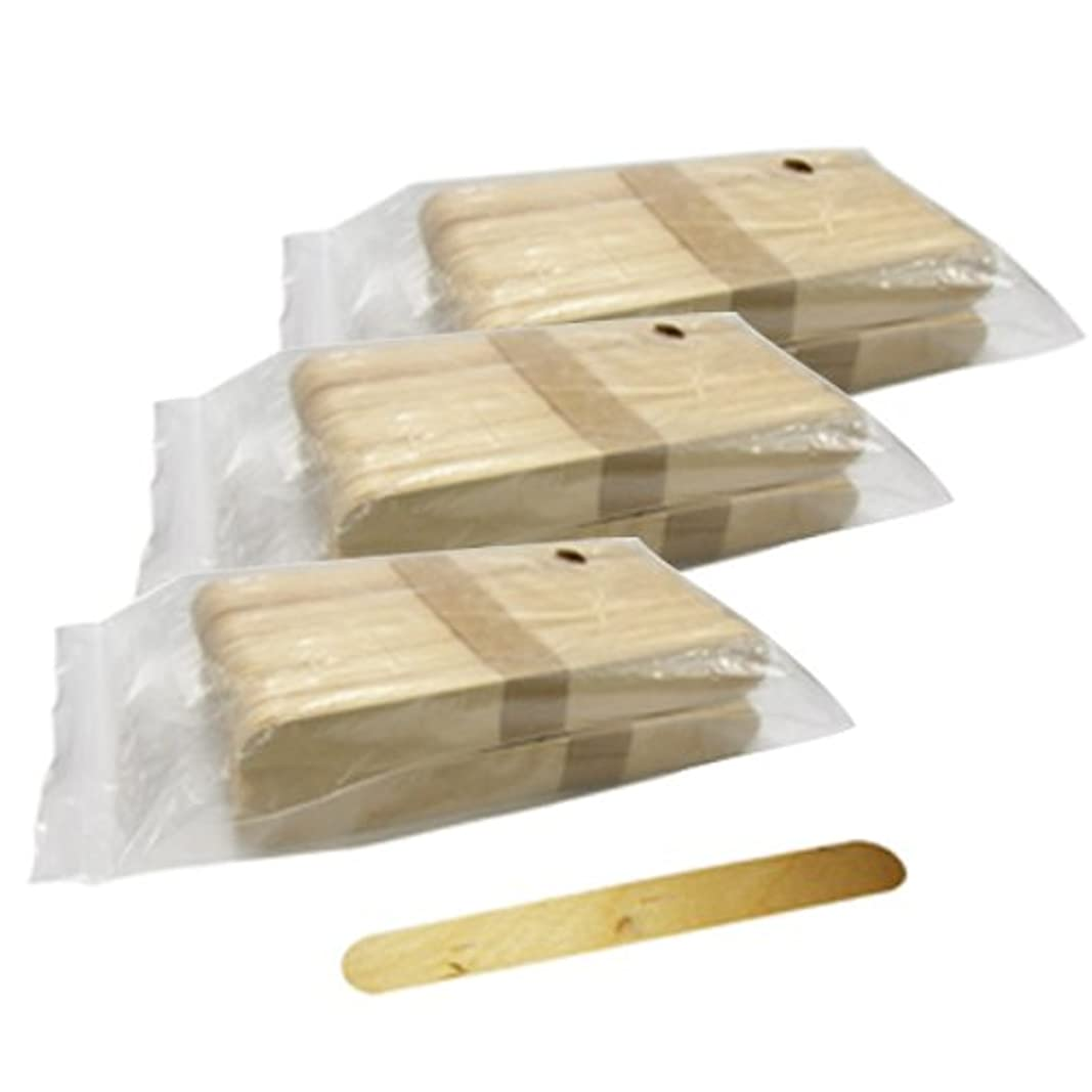 適応縞模様の出血使い捨て【木ベラ/ウッドスパチュラ】(業務用100枚入り) × 3袋セット(計300枚)/WAX脱毛等や舌厚子にも …