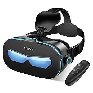 Canbor VRゴーグル VRヘッドセット VRグラス 3Dメガネ 動画 ゲーム 映画 Bluetoothコントローラ付き 4.0-6.3インチのiPhone androidなどのスマホ対応 (ブラック)
