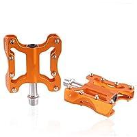 自転車用ペダル マウンテンバイク ベアリング・ペダル 9/16in アルミ合金ペダル 軽量 サイクリング 滑り止め 自転車部品,Orange