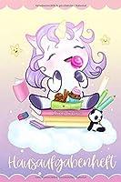 Hausaufgabenheft Einhorn: Individuelles Hausaufgabenheft fuer die Grundschule | DIN5 | niedliches Chibi Einhorn mit Pandabaer | Mit 1 x 1, Raetselspass und Ausmalbildern
