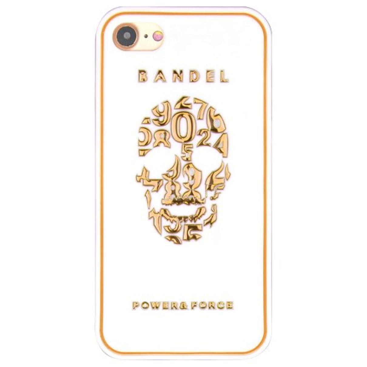 隣接習字家畜バンデル(BANDEL) スカル iPhone 8 Plus専用 シリコンケース [ホワイト×ゴールド]