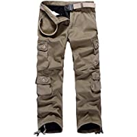 AOYOG Thicken Mens Winter Fleece Lined Cargo Pant Windproof Work Pants