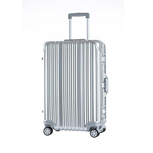 [トラベルハウス]Travelhouse スーツケース キャリーバッグ アルミフレーム スクラッチ仕上げ 超軽量 大容量 TSAロック (L, シルバー)