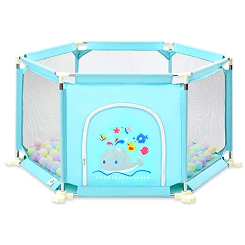 男の子女の子の安全Playpenポータブル折り畳み幼児の赤ちゃん活動エリア青いフェンス6パネル屋内屋外の家