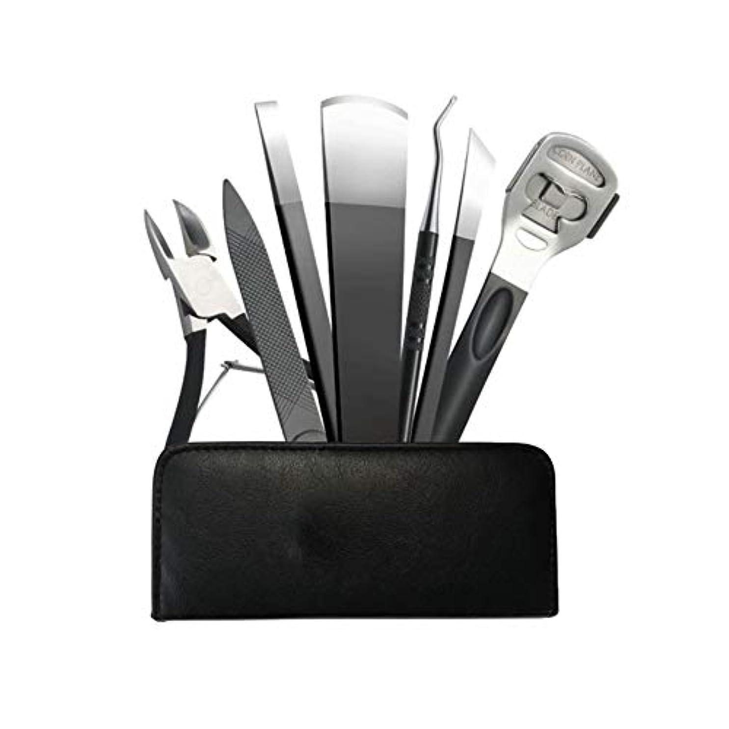 人種プレゼンテーション燃やすJIAYIZS プロフェッショナルペディキュアナイフ7点セットネイルクリッパーペディキュアペディキュアツール (Color : Silver)
