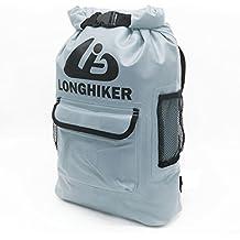 LONGHIKER Waterproof Backpack Dry Bags-Padded Shoulder Straps - Mesh Side Pockets-Easy Access Front Pocket