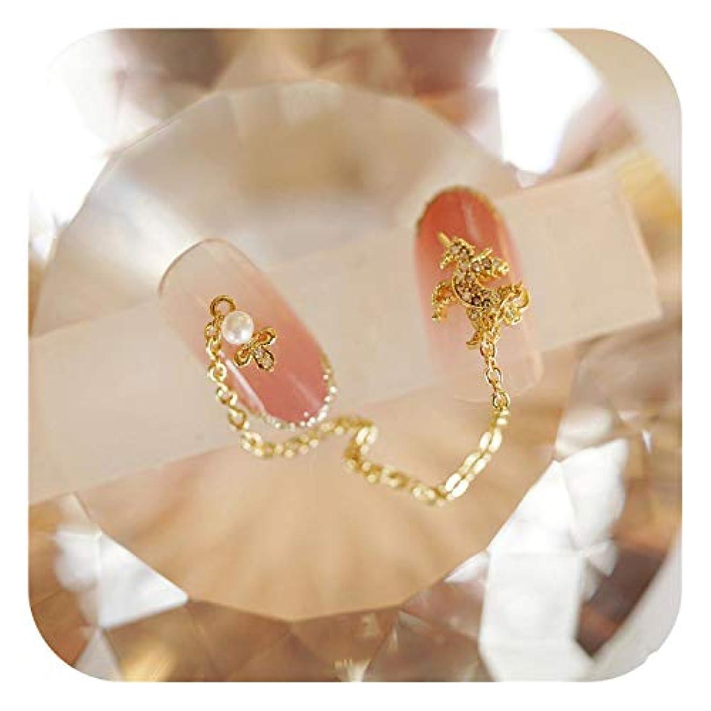 電気のリンス要件豪華なデザインキラキラクリスタルフェイクネイルゴールド3Dペンダントチェーン女の子,Style 1