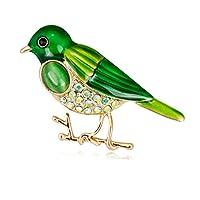 Kofun ブローチ, 鳥のブローチラインストーンの服のバックパックのピンジュエリーコサージュのバッジのアイコン 緑