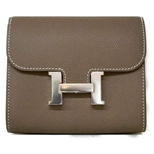 [エルメス] HERMES コンスタンス・コンパクト財布 二つ折り財布 財布 エトゥープ(金具:シルバー) ヴォーエプソン [中古]
