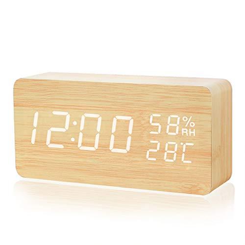 Crzko 置き時計 目覚まし時計 大音量 音声感知 デジタル おしゃれ LED 多機能 アラーム カレンダー 温度湿度 木目調 USB/電池給電 省エネ 卓上寝室台所用 (カラー1)