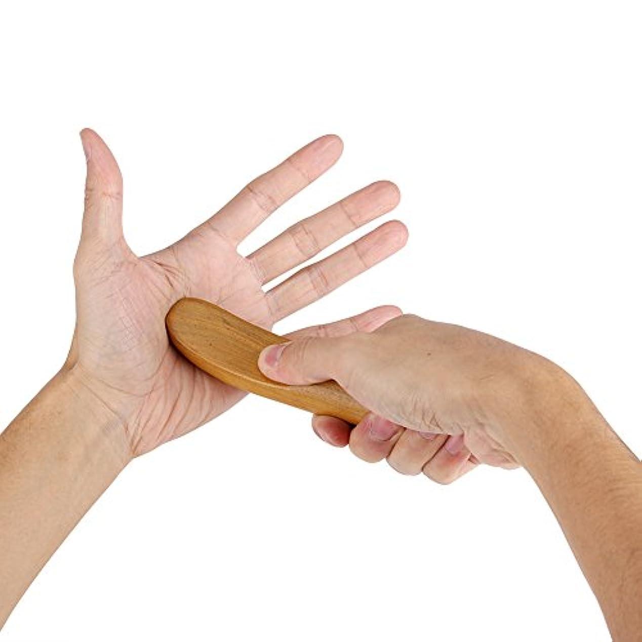 アシスト優れました排除する香りのよい木指圧ポイント子午線掻き寄せスティックミニフィンガーバックボディマッサージャー