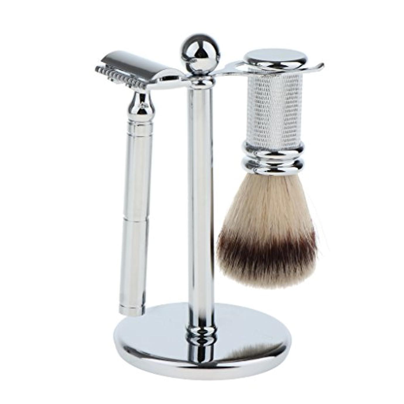 ダイアクリティカル無謀エリートスタンド ブラシ マニュアルシェーバー 3本セット 男性用 シェービング ブラシスタンド ダブルエッジ 剃刀