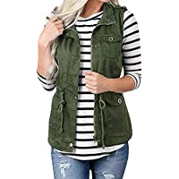 AFKOXKi Women Camo Lightweight Vest Jacket Sleeveless Utility Vest Military Jacket Camouflage Anorak with Pockets