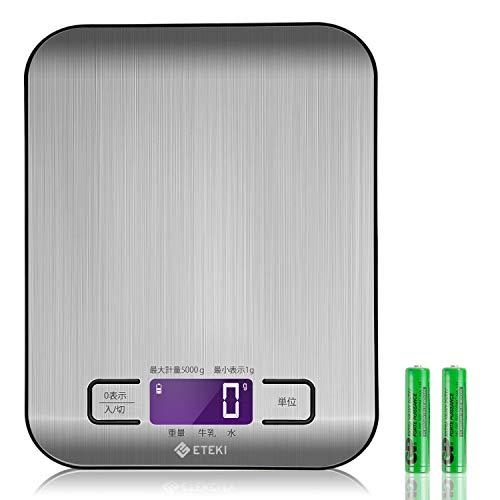 Eteki キッチンスケール デジタル 高精度 多機能 食材用秤 1gから5kgまで計量可能 おしゃれ シルバー ステンレス鋼 掃除しやすい計量器(電池付属)