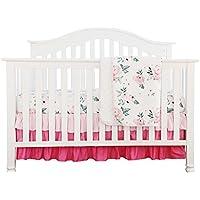 ピンク花柄フリルベビーMinky毛布水カラー、ピンクフローラルNursery CribスカートセットベビーガールズCrib Bedding 3 pieces set ピンク