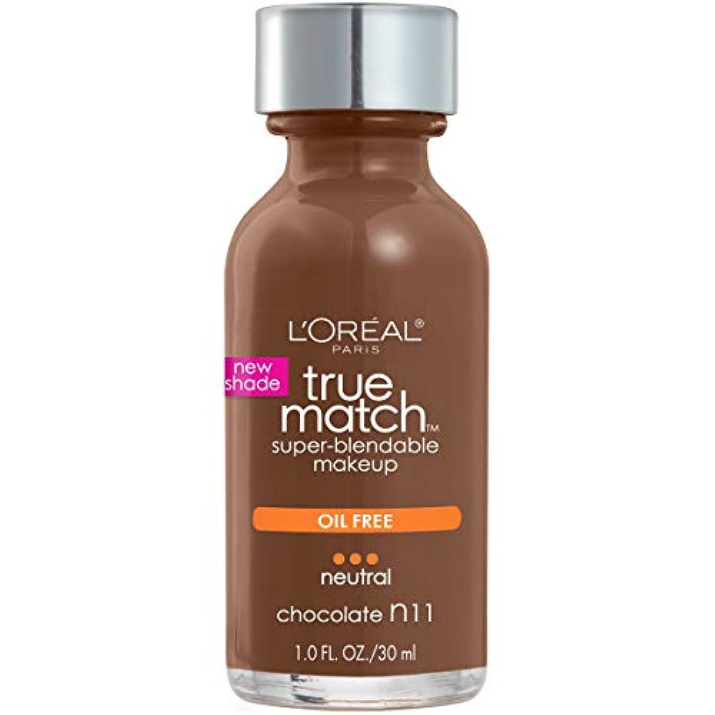 クリック技術者無声でL'Oréal True Match Super-Blendable Foundation Makeup (CHOCOLATE)