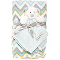 Blankets & Beyond Blue and White Chevron Blanket & Teddy Bear Nunu 2 Pc Set by Blankets and Beyond