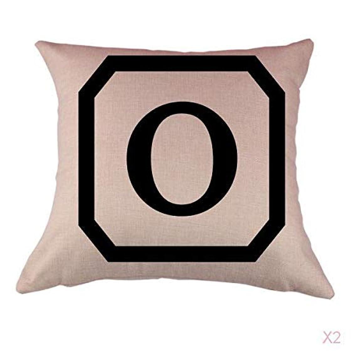 汚染する誓約剃るコットンリネンスロー枕カバークッションカバー家の装飾、初期アルファベットのO