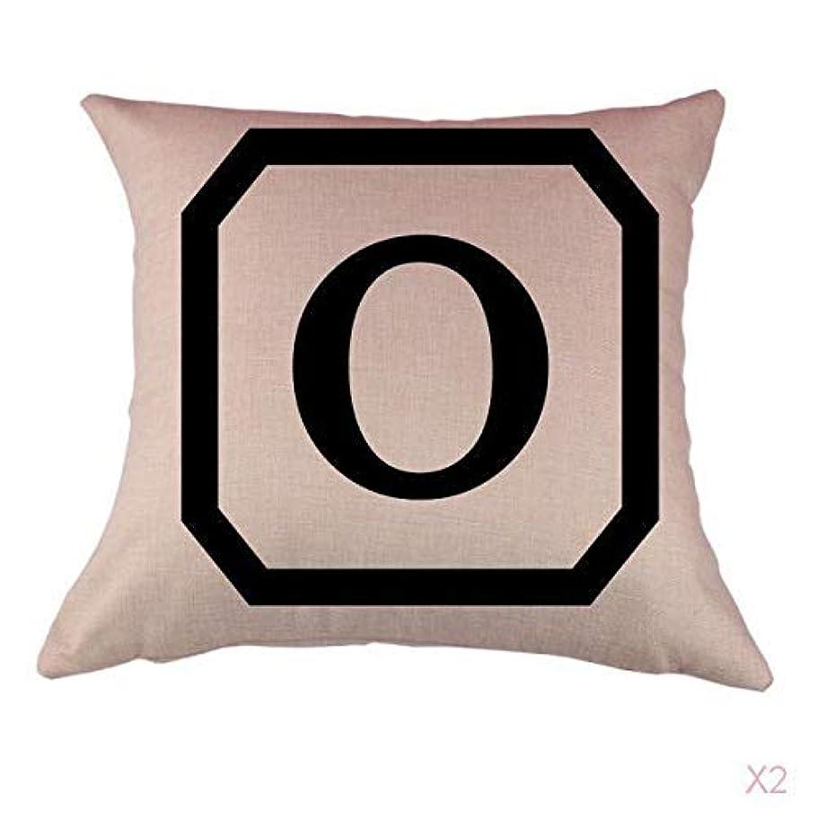 公式パフ散文コットンリネンスロー枕カバークッションカバー家の装飾、初期アルファベットのO