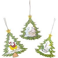 D DOLITY 3本 クリスマスオーナメント 木製 ツリー飾り 子供贈り物 写真小物