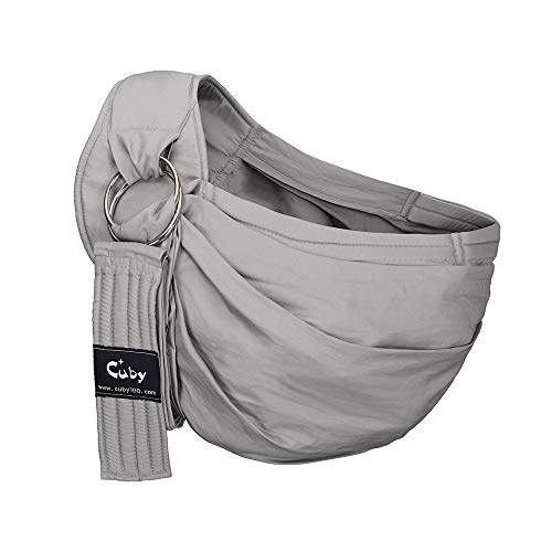 Cuby Ring Sling Baby Wrap Carrier for Infants and Newborns,Breastfeeding Privacy (Grey)