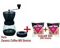 HarioセラミックコーヒーミルSkerton & Hario 02100Countコーヒー用紙フィルタ、ナチュラル× 2セット合計200枚-スターター値設定値と(日本オリジナル商品のdiscription )